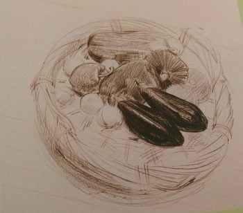 sketch of a basket with vegetables made with pencils