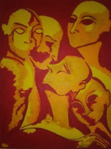 oil on canvas representing several figures in red and yellow oil color