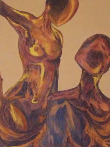 oil on canvas representing two nudes painted in many shades of brown
