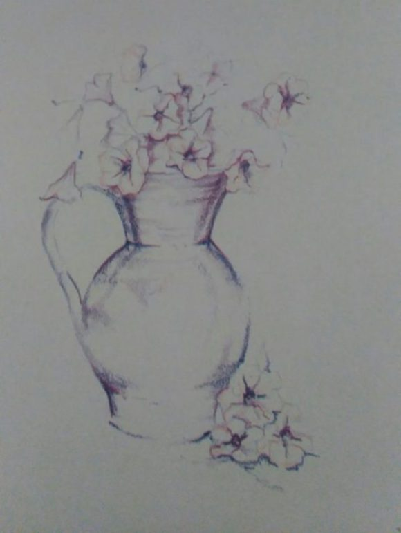 sketch of a jug withflowers made with colored pencils