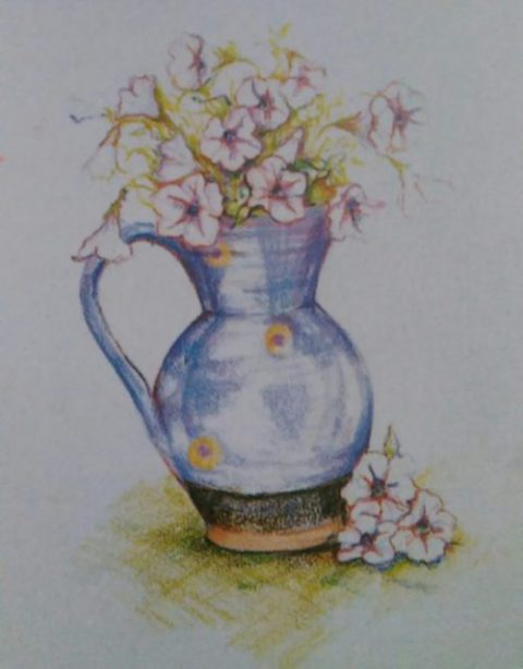 completed drawing of flowers in a jug made with colored pencils