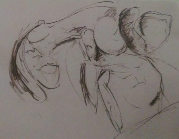 sketch of shrimp done with charcoal pencils