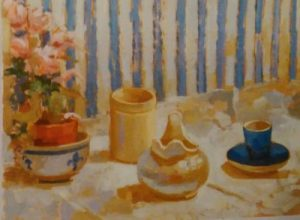 oil painting of a pot with flowers,cup, jug ,jar in front of a blue and white stripped wall