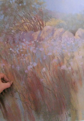 hand drawing wild flowers with a scattered paint technique