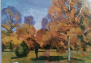 oil painting of several trees