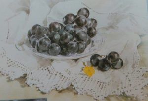 painting of black grapes in a white plate on a white table cloth made with watercolors
