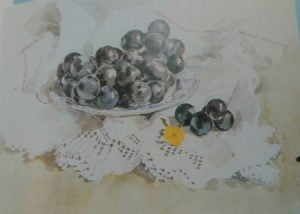 painting of black grapes made with watercolors