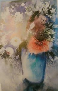 painting of flowers in a vase made with watercolors wet on wet technique