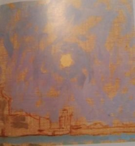 sketch of a sunset on a toned surface