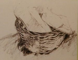nearly completed drawing of a basket with cloth made with graphite sticks
