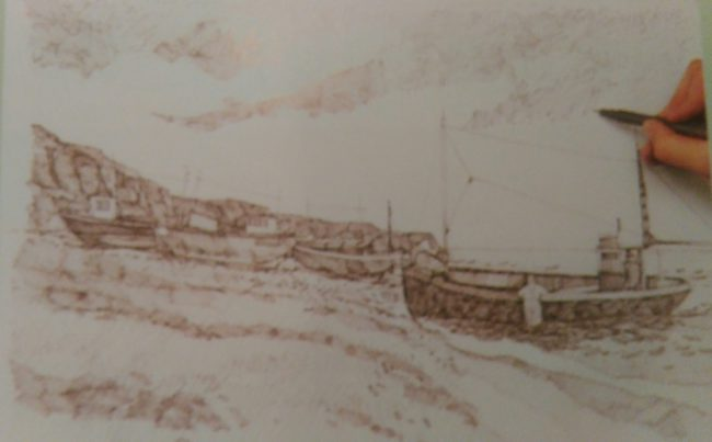 hand drawing several boats using a cross hatching drawing technique