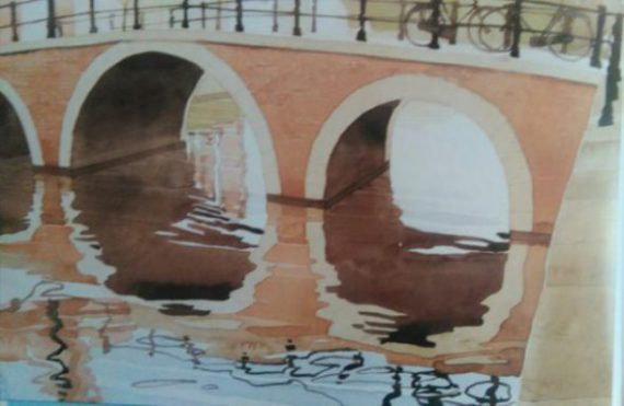 watercolor painting of a bridge on the water