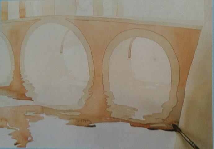 sketch of water with a bridge made with watercolors