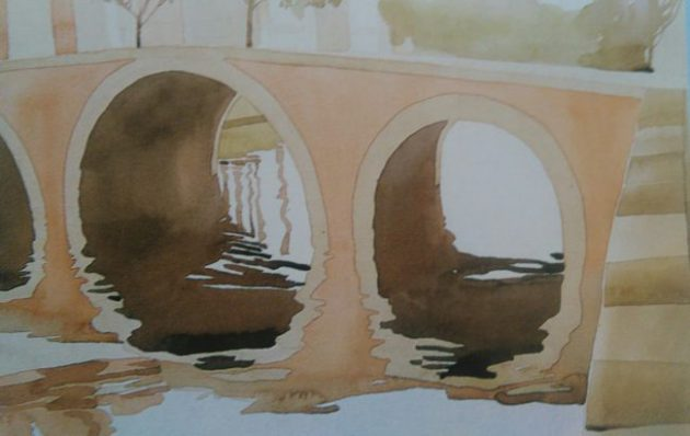 almost completed painting of a bridge on the water made with watercolors