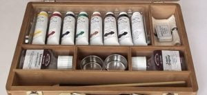 opened box of winsor and newton artist oil colors
