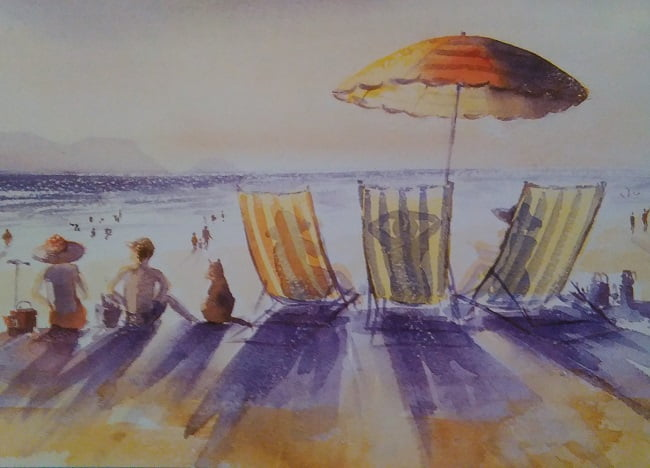 painting made with complementary colors representing several beach chairs, people and a sun umbrella