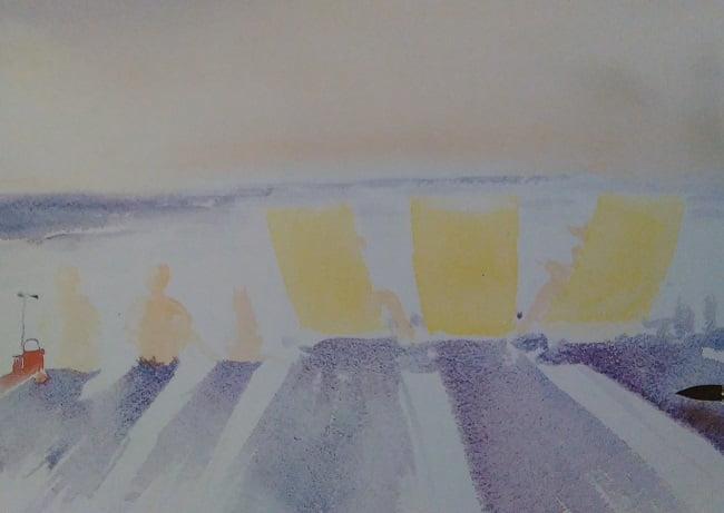 watercolor sketch of a beach with several beach chairs