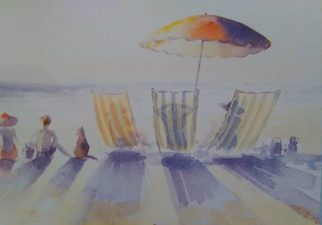 sketch of a beach with several beach chairs, several people and a sun umbrella