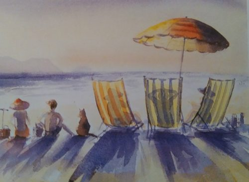 almost completed painting of a beach done with complementary color