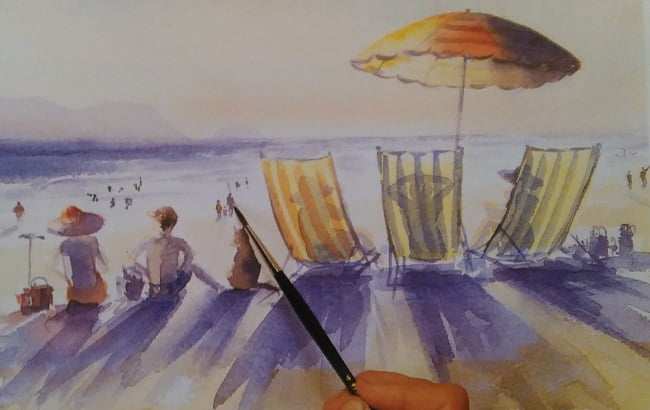 paintbrush adding final details to a painting of a beach made wit complementary colors