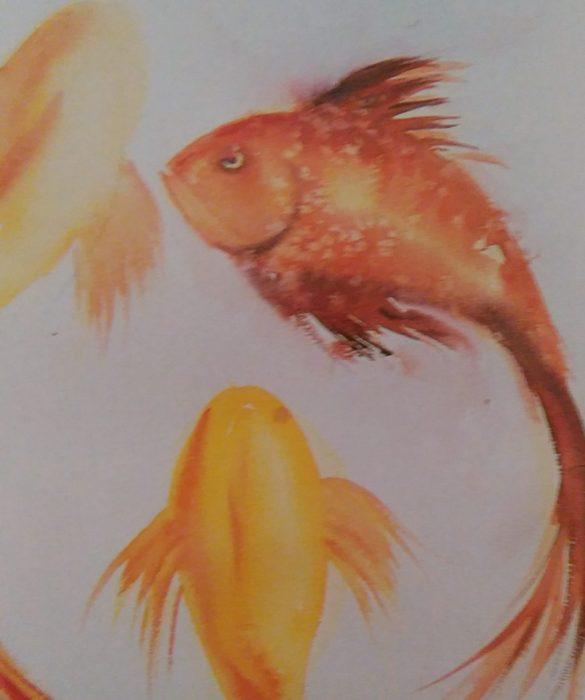 watercolor sketch of fish underwater
