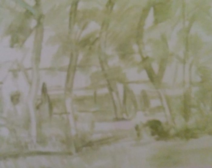 sketch of trees in front of the house made with green oil color