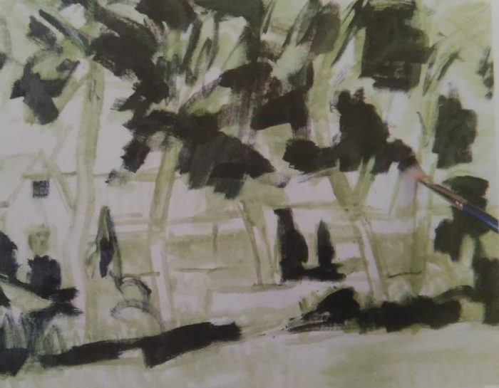 sketch of trees made with green oil color