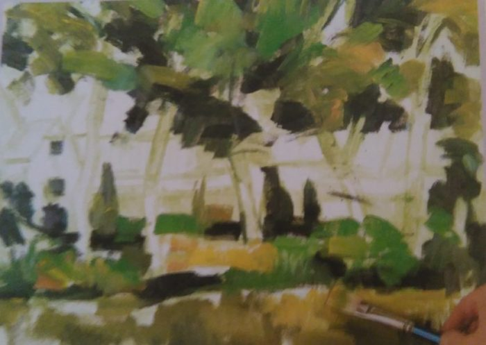 brush sketching the trees in front of a house