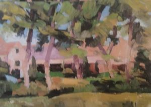 painting of green summer trees in front of a house painted with oils