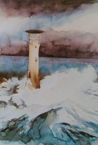 painting of a lighthouse in the storm painted with watercolors