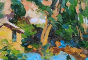 painting of a house with a garden done in impasto technique