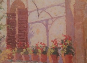 oil painting of a window with several flower pots with red flowers