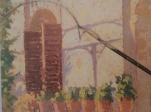 paint brush adding final details to a painting of a window with several flower pots made with analogous oil colors