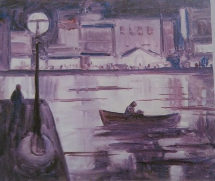 purple sketch of a boat in a port made with oil colors