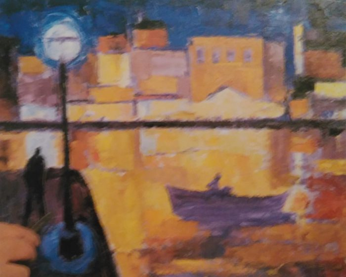 boat in a port at night sketch made with oil colors