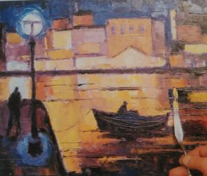 painting of a boat in a port made with oil painting knife