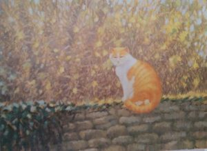 oil painting of a yellow cat sitting on a brick wall with wild flowers in the background