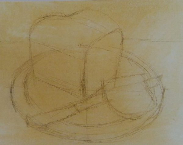 sketch of a loaf of bread and a knife on a cutting board