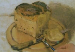 paiting of a bread and a knife on a cutting board made with oilcolors