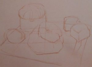 sketch of pastries made with conte crayons