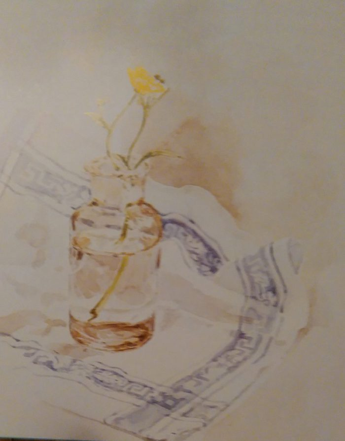 almost complete painting of a glass jar with flowers on a blue and white cloth