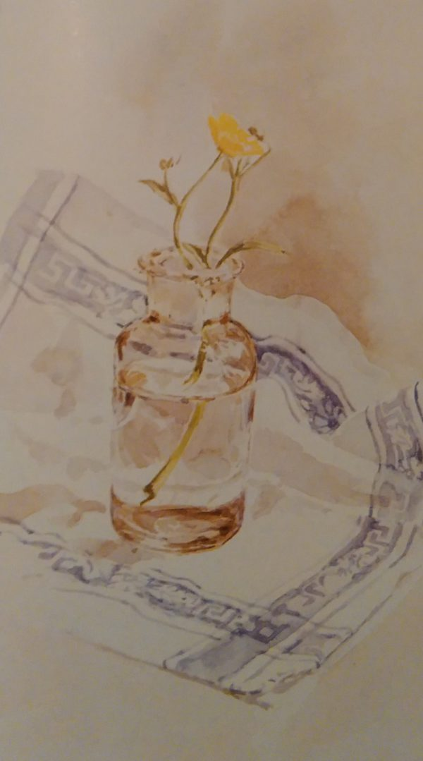 glass jar with flowers on a white and blue table cloth painted with watercolors