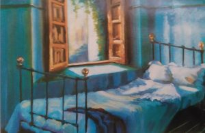 painting of a bed next to an open window