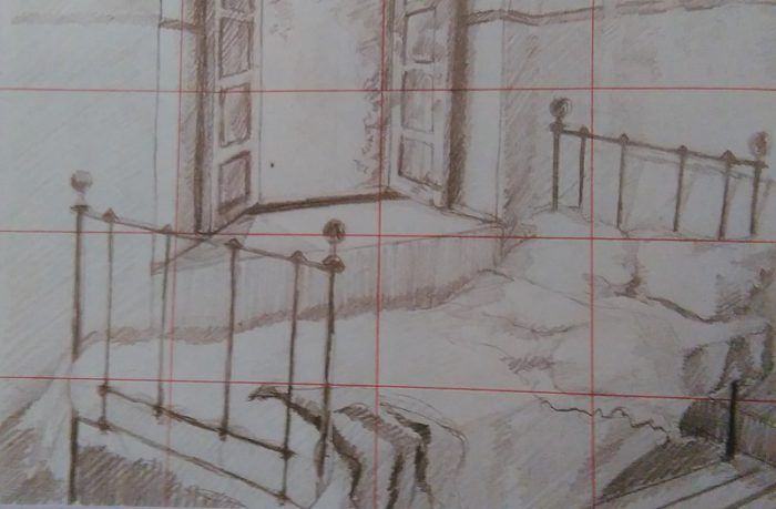 sketch of a bed next to the opened window with a grid on it