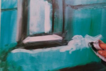 hand with a piece of cloth removing the paint from the painting of a bed next to the opened window