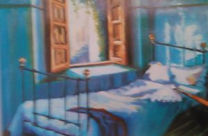almost completed painting of a bed next to the window done with oil colors