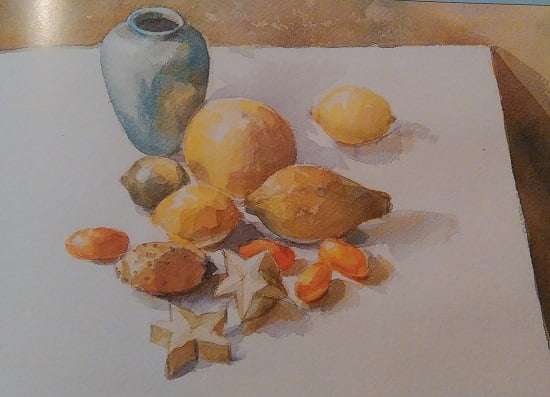 painting of tropical fruit painted with watercolors mixed with gum arabic
