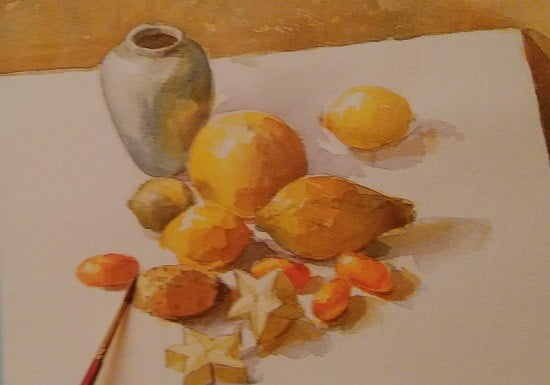 watercolor sketch of tropical fruit
