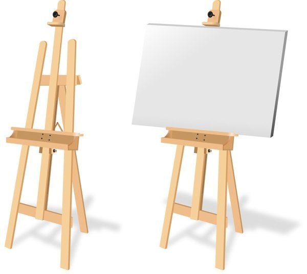 Two A-frame easels one with canvas mounted on it one without