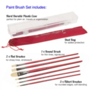 Several D'artisan shoppe paintbrushes next to plastic box and a bag for brushes